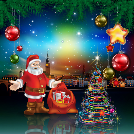 Christmas greeting with panorama of city and Santa Claus