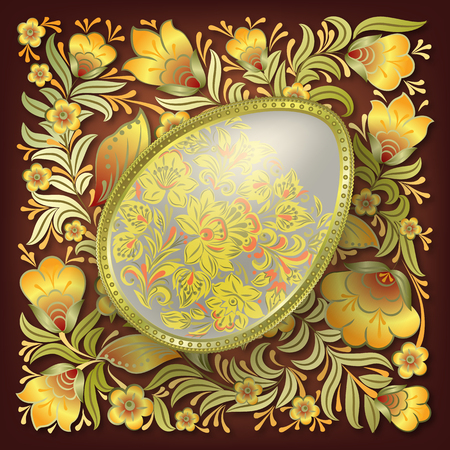 brown egg: Gold easter egg on brown floral background