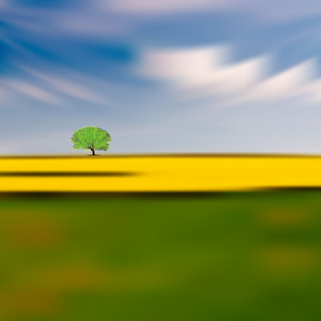horison: abstract Nature background with green tree on horison Illustration