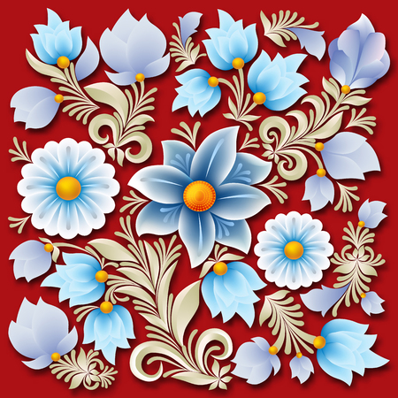 colour image: Abstract blue spring floral ornament on red background Illustration