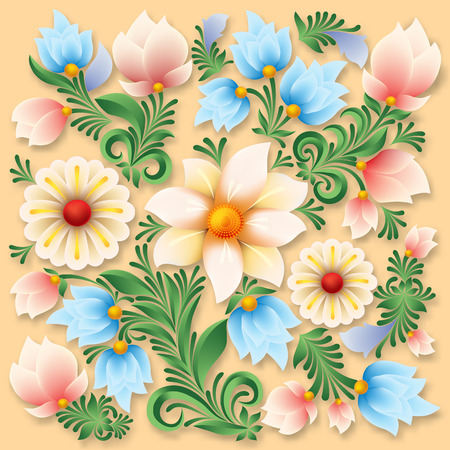 antique wallpaper: Abstract spring floral ornament on a beige background