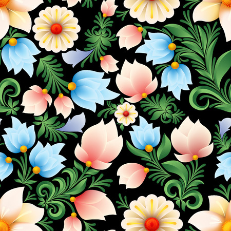 colour image: Abstract spring seamless floral ornament on black background