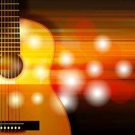 classic classical: blur music background with acoustic guitar Illustration