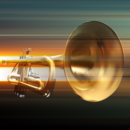 troubadour: blur music background with trumpet on gray Illustration