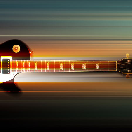 classic classical: Blur music background with classic electric guitar on gray Illustration