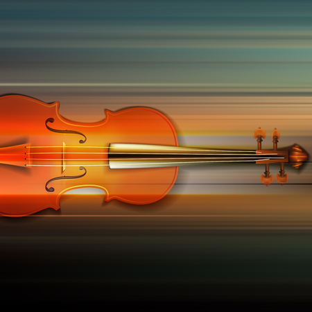 Blur music background with violin on gray