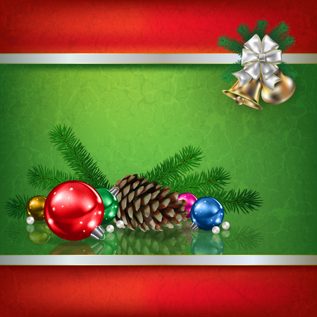 Abstract grunge green background with Christmas decorations and pine cone Illustration