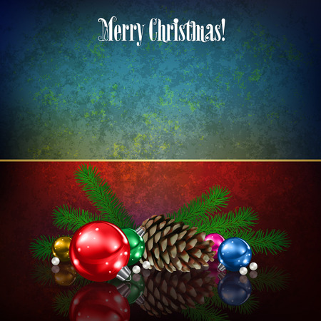 Celebration grunge red blue background with Christmas decorations and pine cone