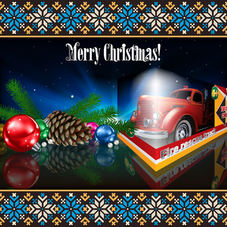Christmas greeting with decoration and fire truck toy
