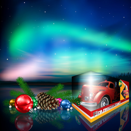Celebration greeting with fire truck toy Christmas decorations and aurora borealis