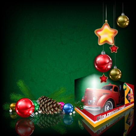 Grunge greeting with fire truck toy and Christmas decorations on green Illustration
