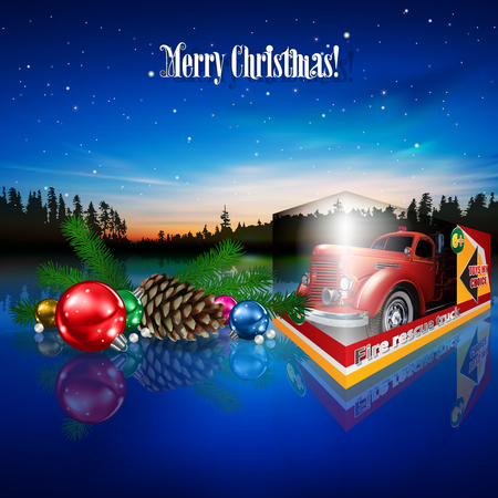Abstract Christmas greeting with fire truck toy decorations and forest lake Illustration