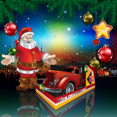 Christmas greeting with Santa Claus and fire truck
