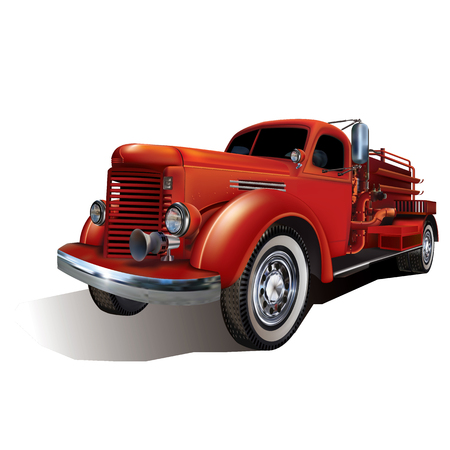 Retro Fire Truck Isolated on White background