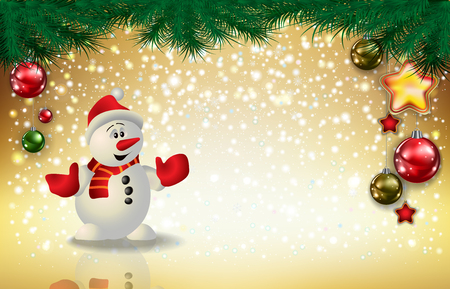 Abstract Christmas golden greeting with snowman snowflakes and decorations