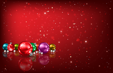 Abstract red background with Christmas decorations Vettoriali