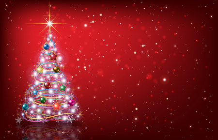 Abstract red background with Christmas tree and decorations