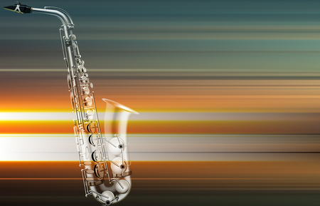 Abstract blur music background with saxophone