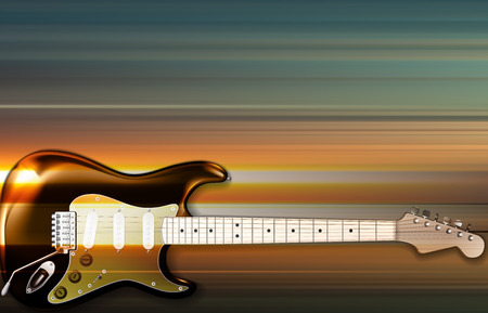 Abstract blur music background with electric guitar Illustration