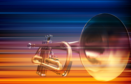 Abstract blur music background with trumpet illustration.