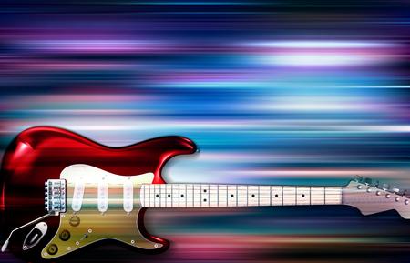 エレキギターのイラストと抽象的な青い白い音楽の背景。