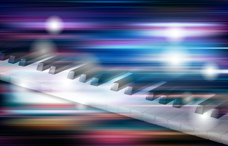 Abstract blue white music background with piano keys illustration.