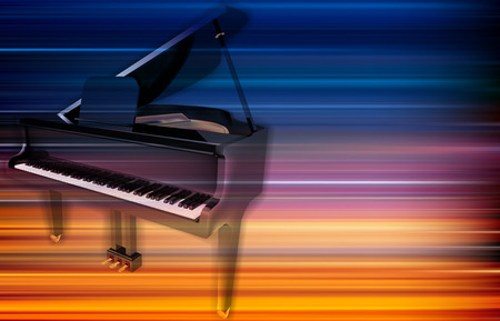 Abstract blur music background with grand piano illustration.