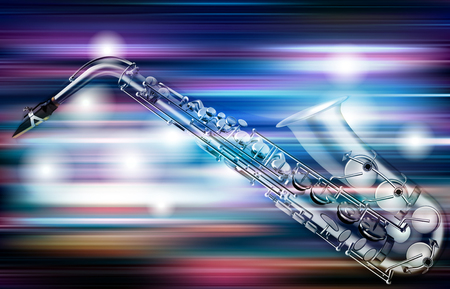 Abstract blue white music background with saxophone illustration. Stock Illustratie