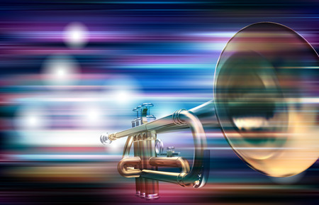 Abstract blue white music background with trumpet illustration.