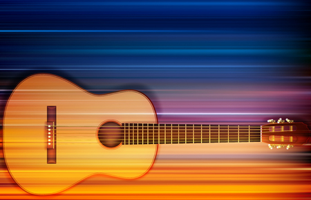 Abstract blur music background with acoustic guitar illustration. Illustration