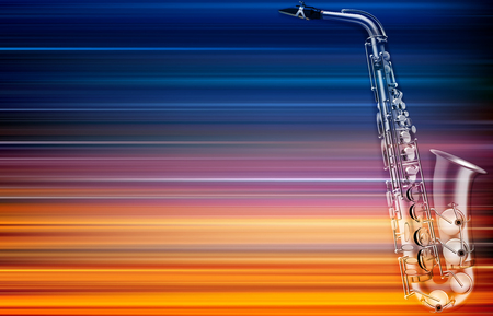 Abstract blur music background with saxophone illustration. Stock Illustratie