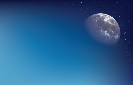 Abstract background with moon on the day sky vector illustration