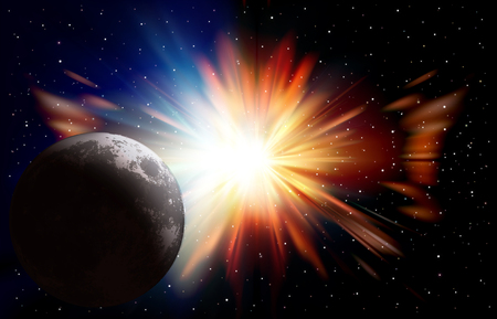 Abstract space background with moon stars and sunrise vector illustration.