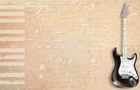 黒のエレキギターベクトルイラストと抽象的なベージュグランジピアノの背景  イラスト・ベクター素材