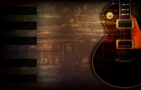 古典的なエレキギターベクトルイラストと抽象的な茶色のグランジ音楽の背景