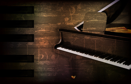 Abstract brown grunge music background with grand piano vector illustration Illustration