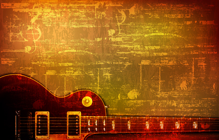 abstract brown grunge vintage background with electric guitar vector illustration Illustration