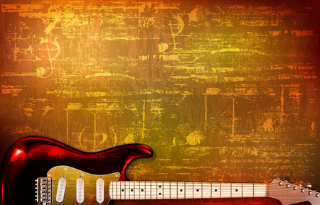 abstract brown grunge vintage sound background electric guitar vector illustration Stock Illustratie