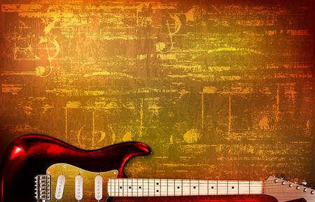 abstract brown grunge vintage sound background electric guitar vector illustration Illustration