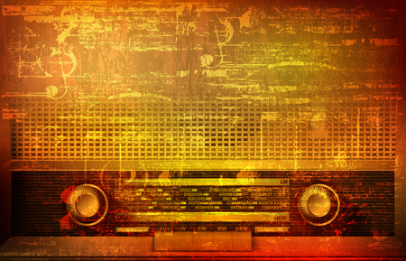 abstract brown grunge vintage sound background with retro radio vector illustration Vectores
