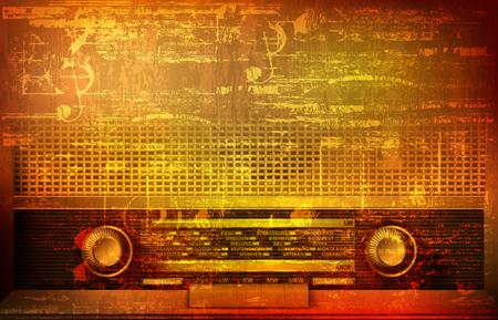 abstract brown grunge vintage sound background with retro radio vector illustration Illustration