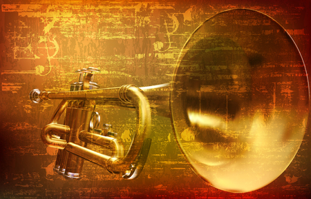 abstract brown grunge vintage sound background with trumpet vector illustration