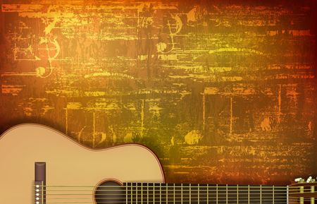 abstract brown grunge vintage sound background acoustic guitar vector illustration