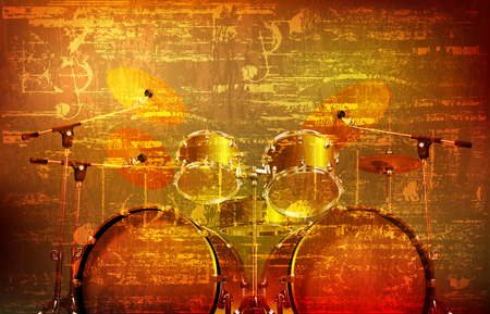 abstract brown grunge vintage sound background with drum kit vector illustration