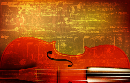 abstract brown grunge vintage sound background with violin vector illustration Vectores
