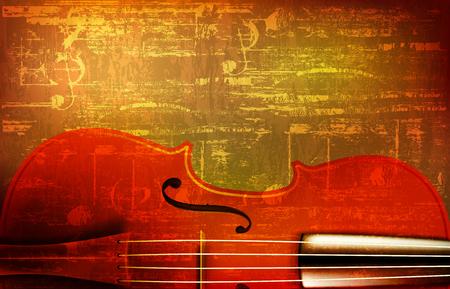 abstract brown grunge vintage sound background with violin vector illustration Illustration