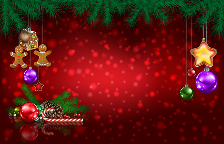 Celebration red greeting with Gingerbread man pine cone and Christmas decorations