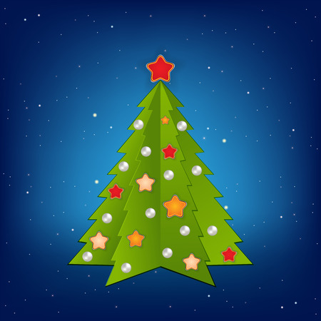 Christmas blue greeting with tree and decorations