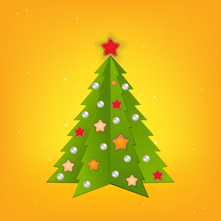 Christmas yellow greeting with tree and decorations