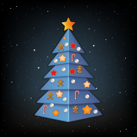 black background with blue Christmas tree and decorations